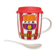 F.C. Barcelona bögre fedővel és kanállal