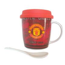 Manchester United bögre fedővel és kanállal