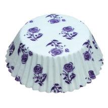 Muffin papír 10,5 cm - lila rózsás - 75 db
