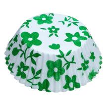 Muffin papír 10,5 cm - zöld virágos - 75 db