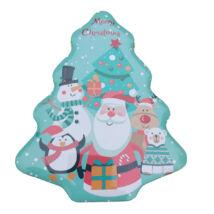 Fenyőfa alakú karácsonyi fémdoboz