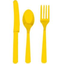 Műanyag evőeszköz készlet - sárga 24 db