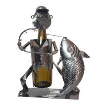 Horgász fém bortartó