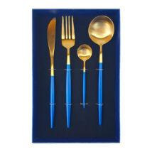 Moderno exclusive evőeszköz készlet - kék/arany - 4 részes