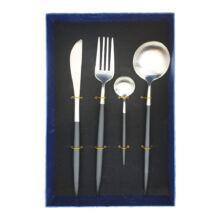 Moderno exclusive evőeszköz készlet - fekete/ezüst - 4 részes