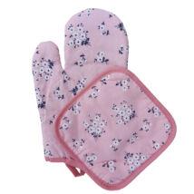 Virágos sütőkesztyű edényfogóval - rózsaszín
