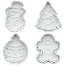 Karácsonyi rugós kiszúró szett 4 db - karácsonyfa, hóember, karácsonyfa dísz, mézeskalács ember