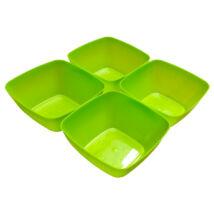 Négyszögletes műanyag tálka 4 db - zöld