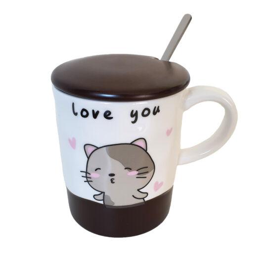Szerelmes cica bögre fedővel és kiskanállal