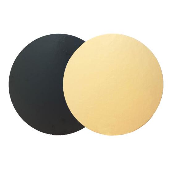 Arany-fekete két oldalú tortakarton, tortaalátét 24cm