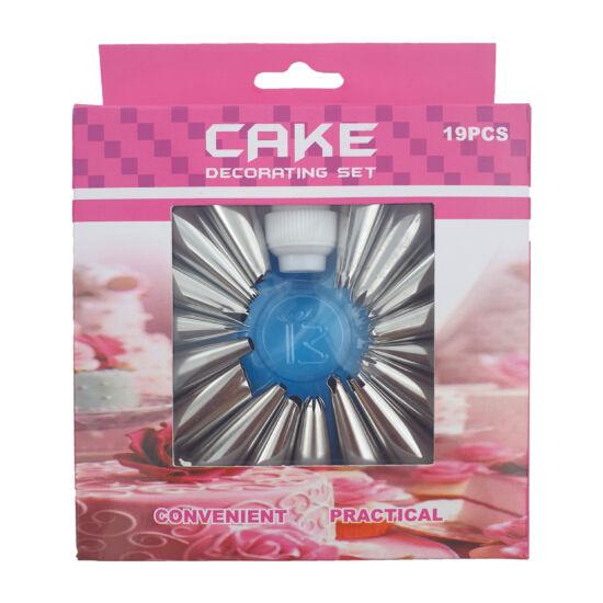 Torta díszítő habzsák szett 19 db-os