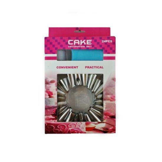 Torta díszítő habzsák szett 24 db-os