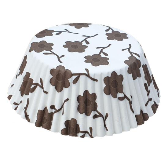 Muffin papír 10,5 cm - barna virágos - 75 db