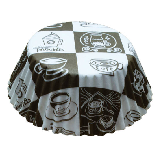 Muffin papír 10,5 cm - kávé mintás - 75 db
