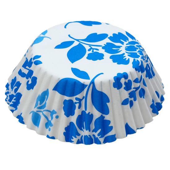 Muffin papír 10,5 cm - kék virágos - 75 db