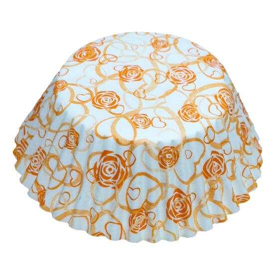 Muffin papír 10,5 cm - narancssárga rózsás - 75 db