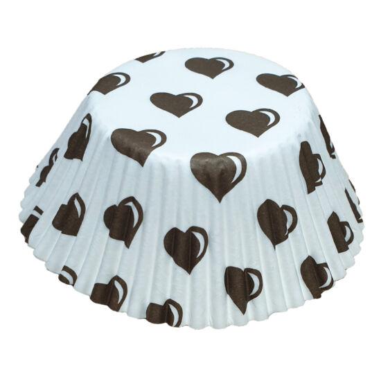 Muffin papír 12 cm - barna szíves - 50 db
