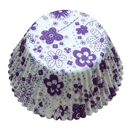Muffin papír 12 cm - lila virágos - 50 db