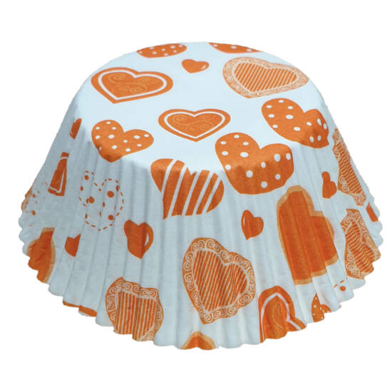 Muffin papír 12 cm - narancssárga szíves - 50 db