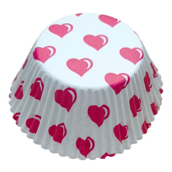 Muffin papír 12 cm - piros szíves - 50 db