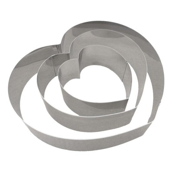 Szív alakú tortakeret 3 részes