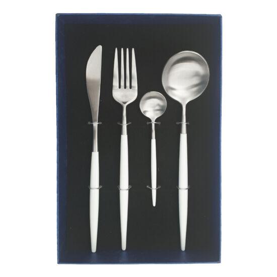 Moderno exclusive evőeszköz készlet - fehér/ezüst - 4 részes