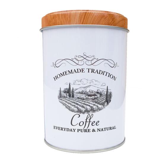 Fémdoboz kávés - henger