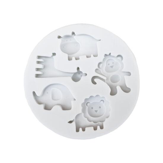 Afrikai állatok - fondant/marcipán formázó - víziló, zsiráf, elefánt, majom, oroszlán
