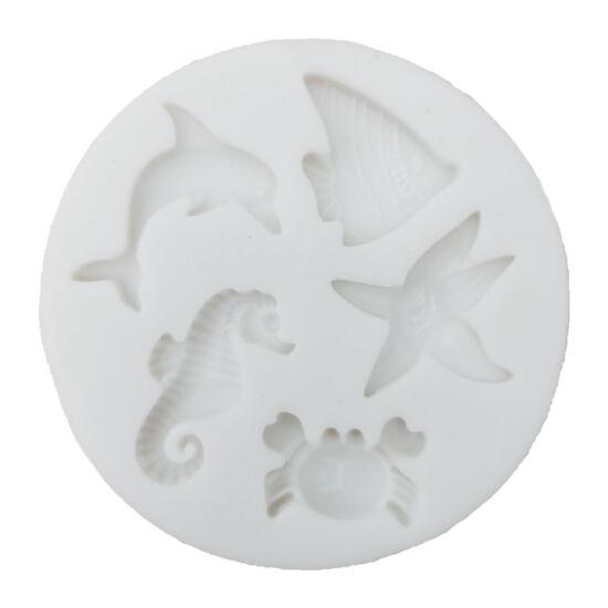 Tengeri állatok fondant/marcipán forma - delfin, csikóhal, rák, tengeri csillag, hal