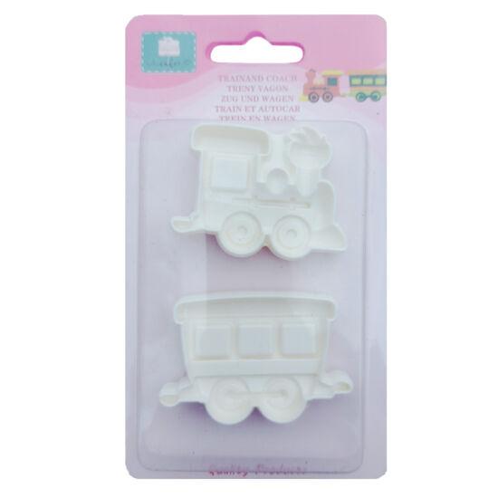 Vonat és vagon műanyag fondant/marcipán kiszúró - 2 részes