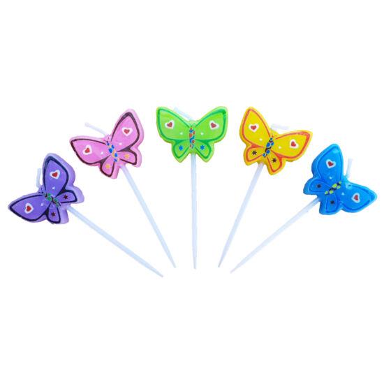 Pillangós gyertya szett 5 db
