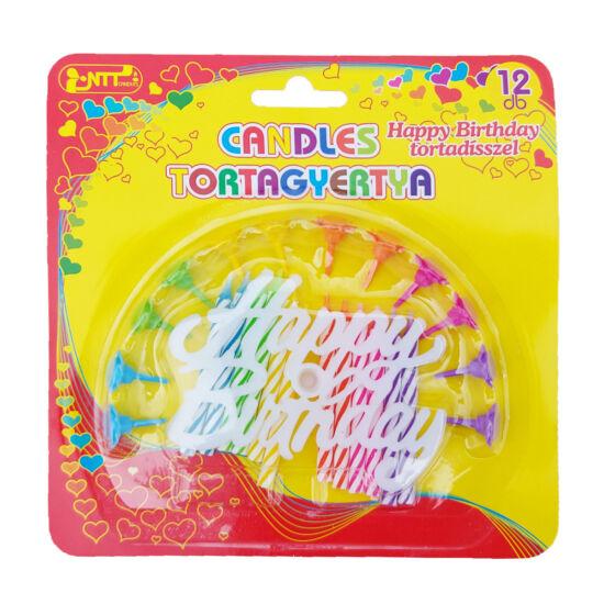 Szivárvány színes tortagyertya szett 12db - 'Happy Birthday' tortadísszel