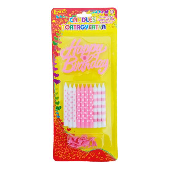 Happy Birthday tortadísz - 10 db gyertyával és tartóval - rózsaszín