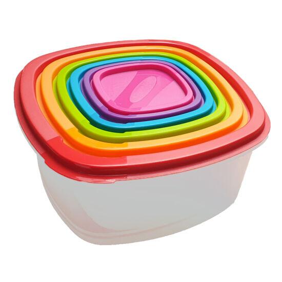 Műanyag élelmiszer tároló doboz 6 darabos