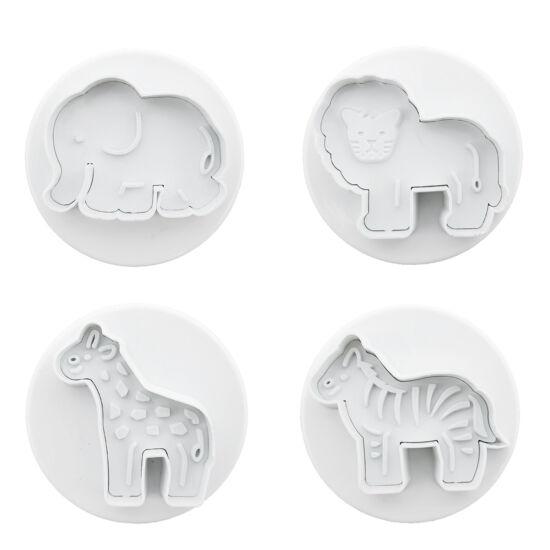 Afrikai állatok rugós kiszúró 4 db - elefánt, oroszlán, zebra, zsiráf