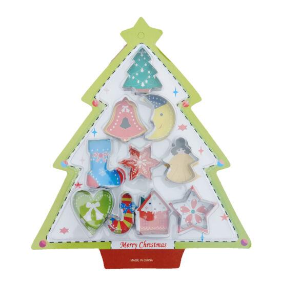 Karácsonyi kiszúró szett 10db - fenyőfa, csizma, harang, csillag, angyal, hópehely