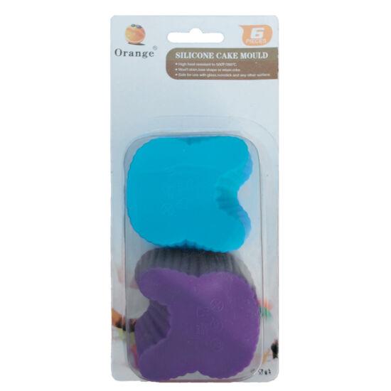 Muffin szilikon forma - nyuszi fej - 6db