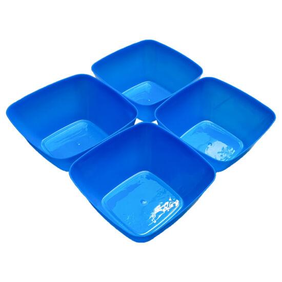 Négyszögletes műanyag tálka 4 db - kék