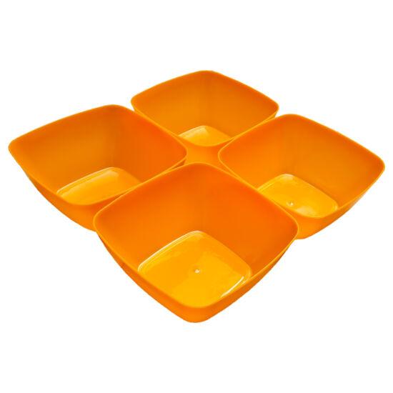 Négyszögletes műanyag tálka 4 db - narancssárga