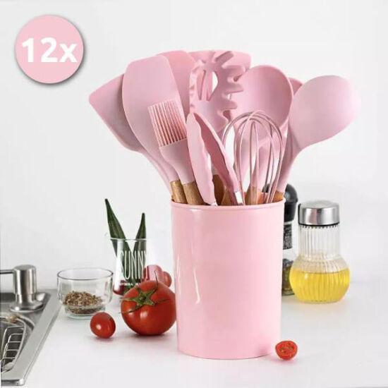 Konyhai szilikon szedő készlet - 12 részes - Rózsaszín